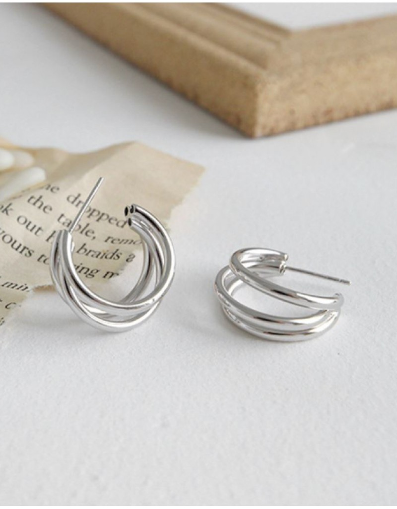 TRIPLE Silver Hoop Earrings
