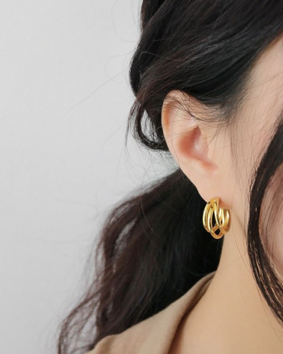 TRIPLE Gold Vermeil Hoop Earrings