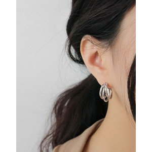 TRIPLE Sterling Silver Hoop Earrings