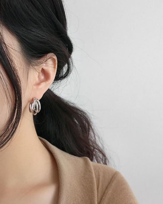 TRIPLE Sterling Silver Hoop Earrings