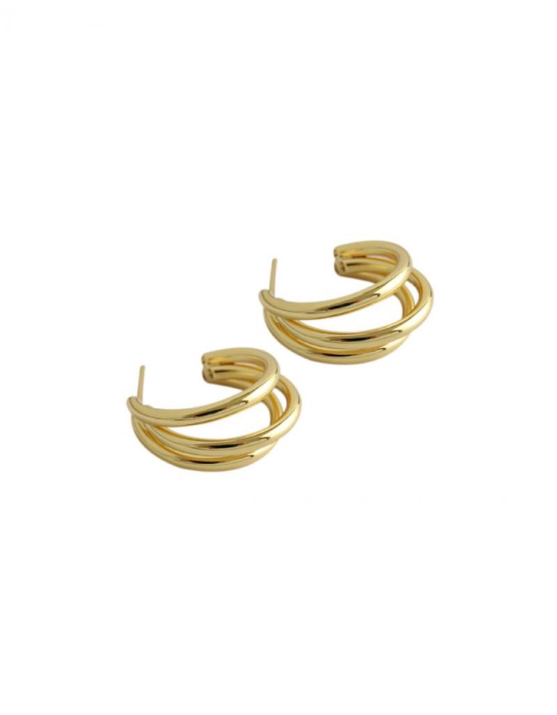 TRIPLE Gold Hoop Earrings