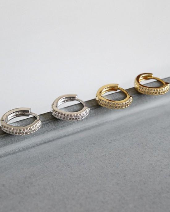 CARA Cubic Zirconia Gold Huggies