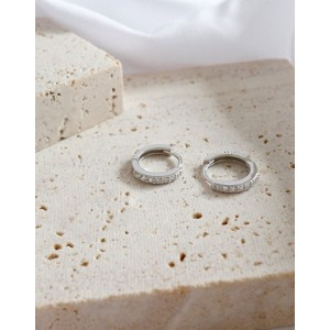 ELVA Sterling Silver Huggies | Medium