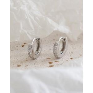 ELVA Cubic Zirconia Silver Huggies | Small