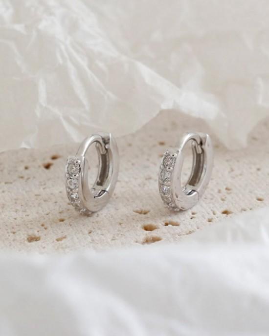 ELVA Sterling Silver Huggies | Small