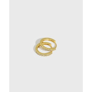 ELVA Gold Vermeil Pave Huggies