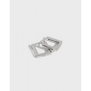 LEXI Sterling Silver Square Huggies | Thin