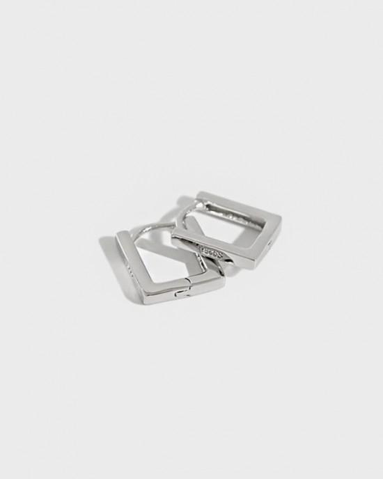 LEXI Sterling Silver Square Huggies | Medium