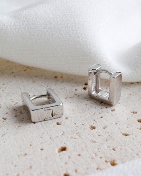 LEXI Silver Square Huggies | Small