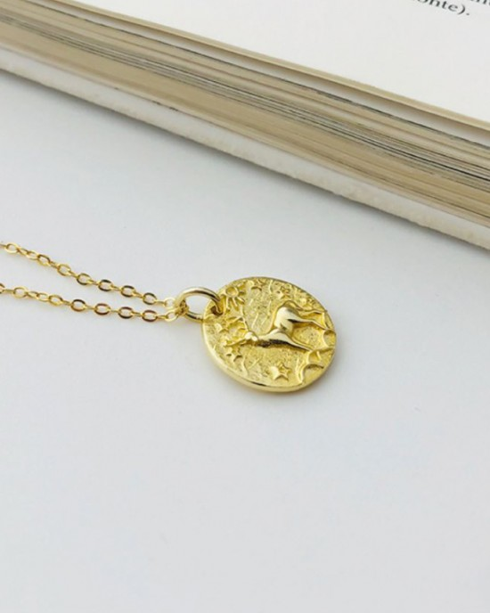DEER Gold Vermeil Coin Necklace