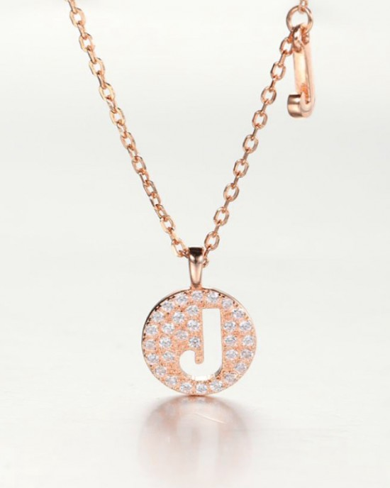 DIAMOND ALPHABET Necklace   Letter J