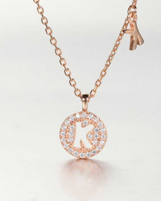 DIAMOND ALPHABET Necklace   Letter K