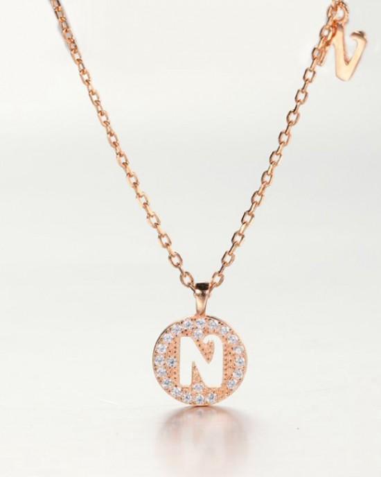 DIAMOND ALPHABET Necklace   Letter N