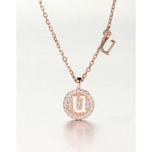 DIAMOND ALPHABET Necklace   Letter U