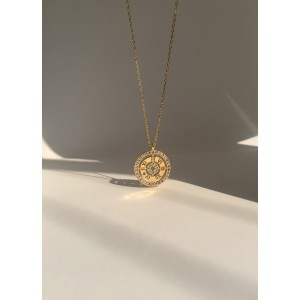 DIAMOND CLOCK Gold Vermeil Necklace