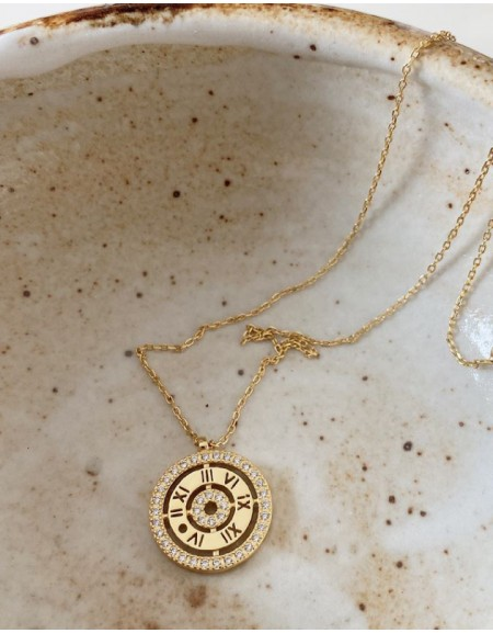 DIAMOND CLOCK Gold Vermeil Necklace