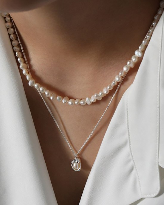 ORIANA Silver Pearl Necklace
