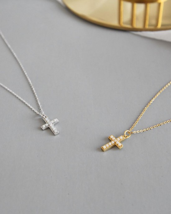 PEARL CROSS Sterling Silver Necklace