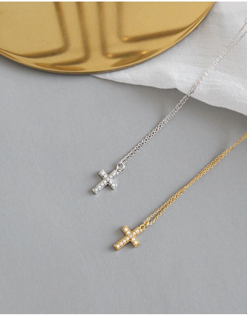 PEARL CROSS Gold Pendant Necklace