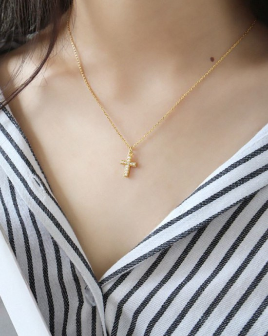 PEARL CROSS Gold Vermeil Necklace