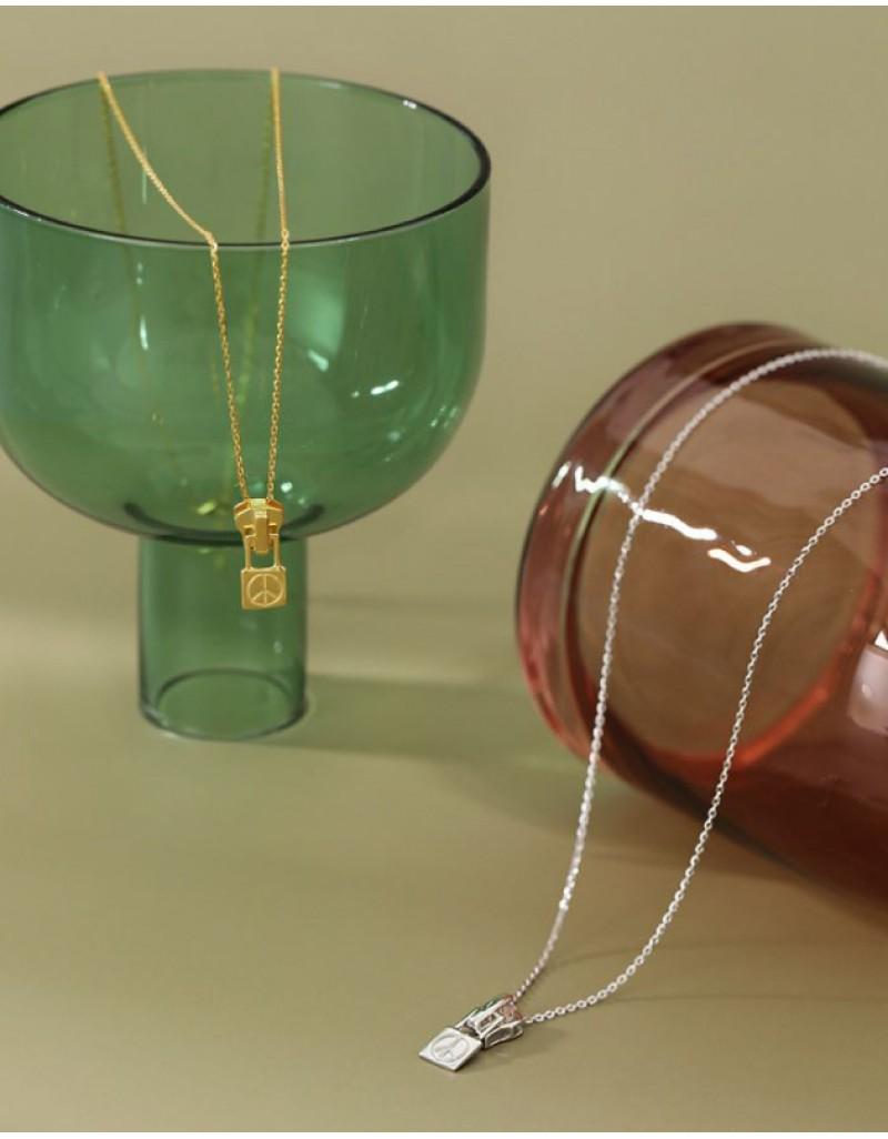 PEACE & LOVE ZIPPER Gold Vermeil Necklace