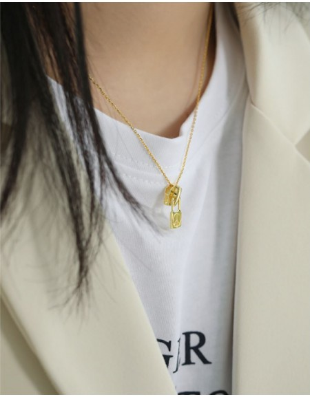 PEACE & LOVE ZIPPER Gold Vermeil Necklace