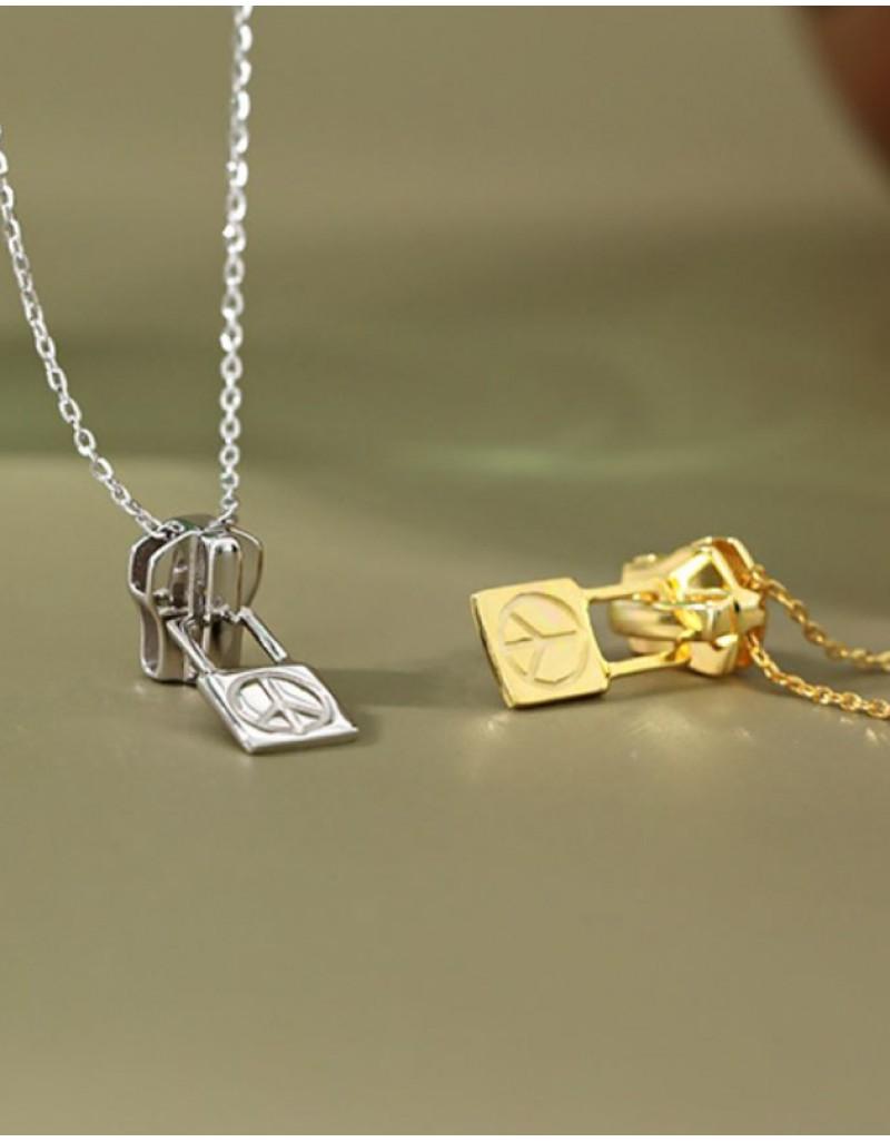 PEACE & LOVE ZIPPER Sterling Silver Necklace