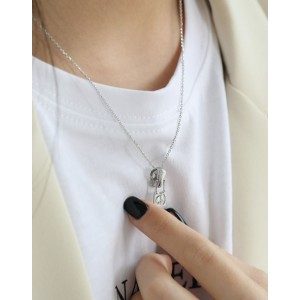 PEACE & LOVE ZIPPER Sterling Silver Necklace