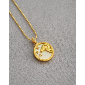 ARIES Zodiac Nacre Button Necklace