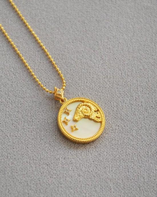 ARIES Zodiac Nacre Button Necklace