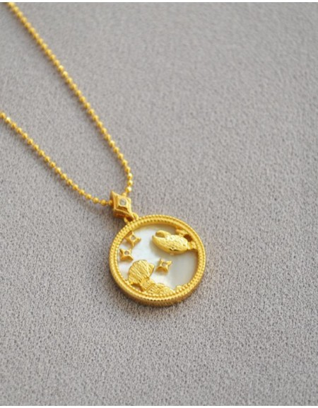 CANCER Zodiac Nacre Button Necklace