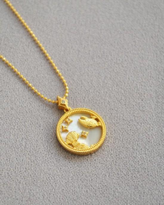 CANCER Zodiac Nacre Button Necklace