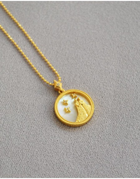 GEMINI Zodiac Nacre Button Necklace