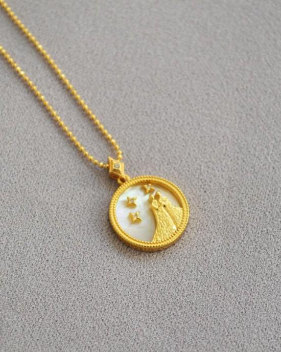 GEMINI Zodiac Nacre Button Necklace