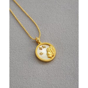 LEO Zodiac Nacre Button Necklace