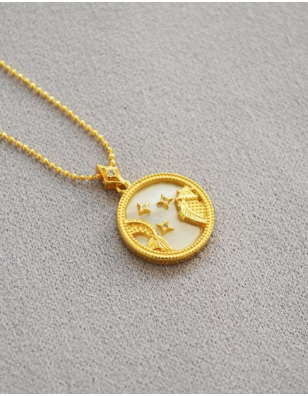 PISCES Zodiac Nacre Button Necklace