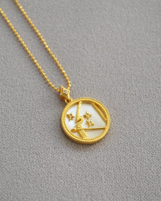 SAGITTARIUS Zodiac Nacre Button Necklace