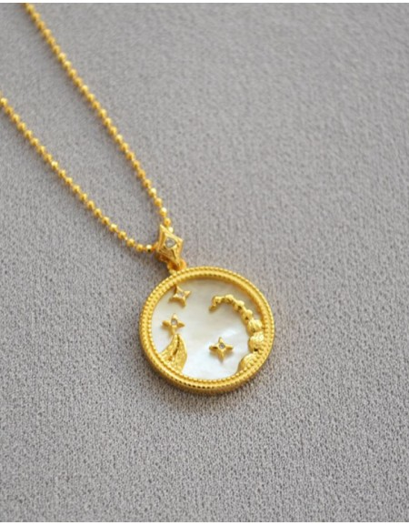 SCORPIO Zodiac Nacre Button Necklace