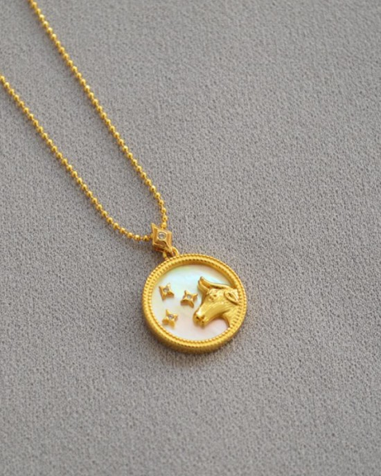 TAURUS Zodiac Nacre Button Necklace