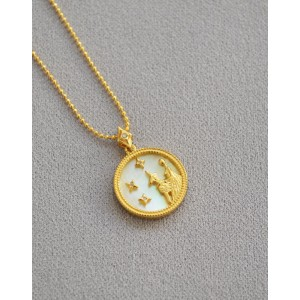 VIRGO Zodiac Nacre Button Necklace