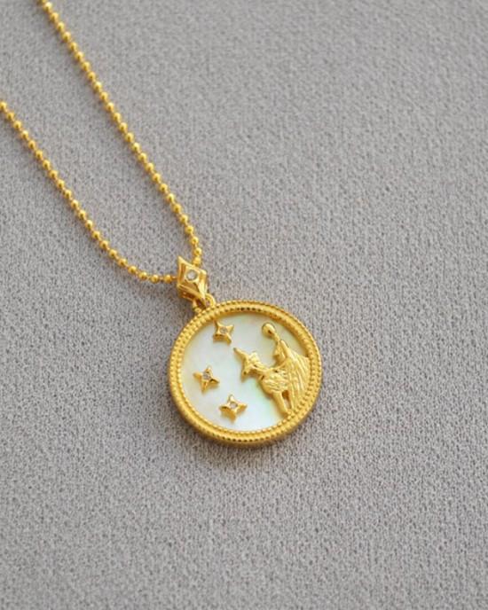 VIRGO Zodiac Nacre Button Necklace