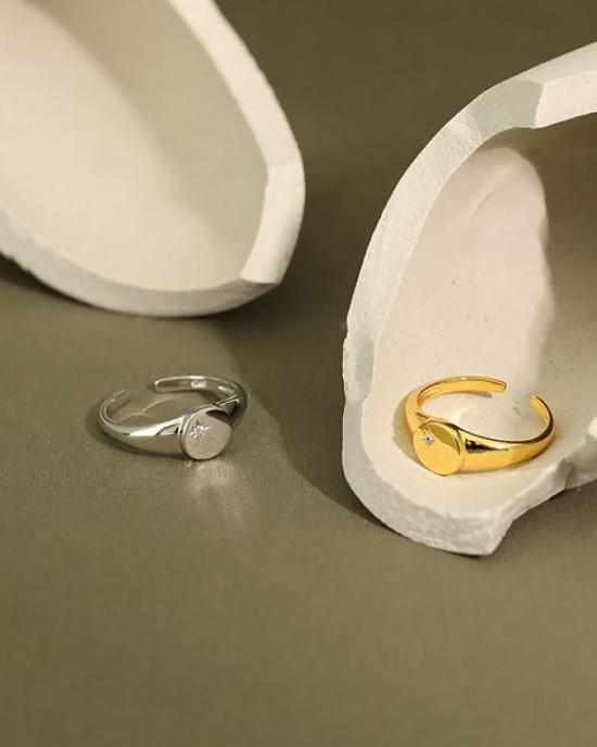 AURORA Sterling Silver Signet Ring