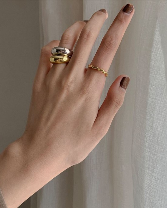 CLARA Sterling Silver Dome Ring