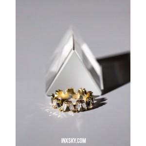 LEILA White Glass Stones Ring