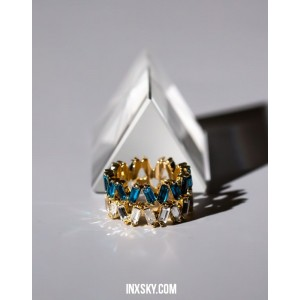 LEILA Blue Glass Stones Ring