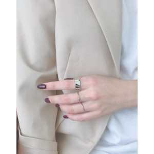 LEXIE Silver Boyfriend Stacker Ring