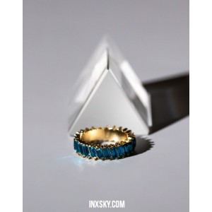 LOLITA Blue Glass Stones Ring