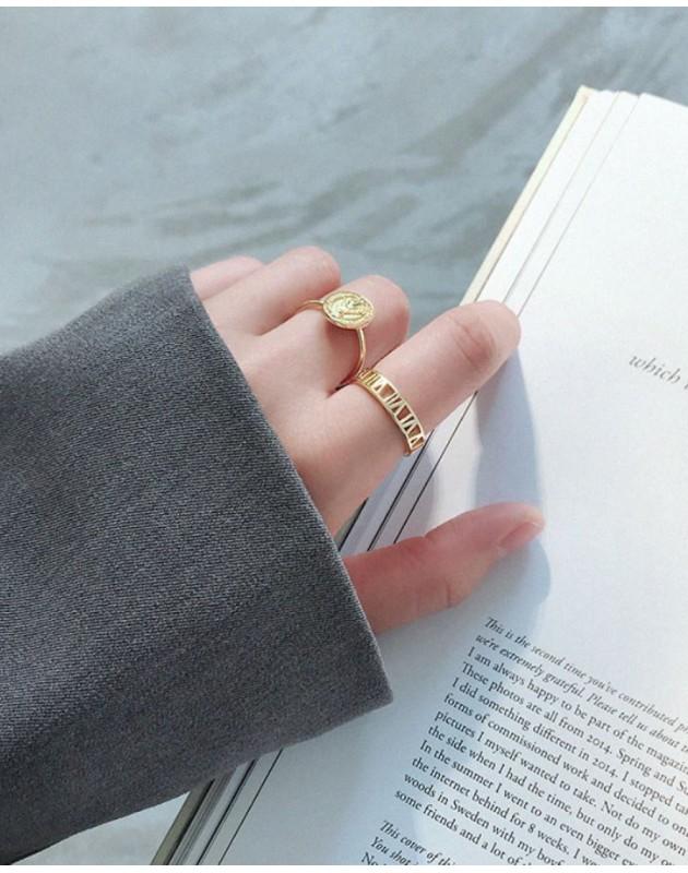 ROMAN NUMERAL Gold Vermeil Ring