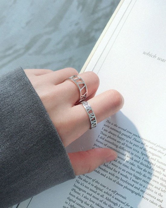 ROMAN NUMERAL Sterling Silver Ring
