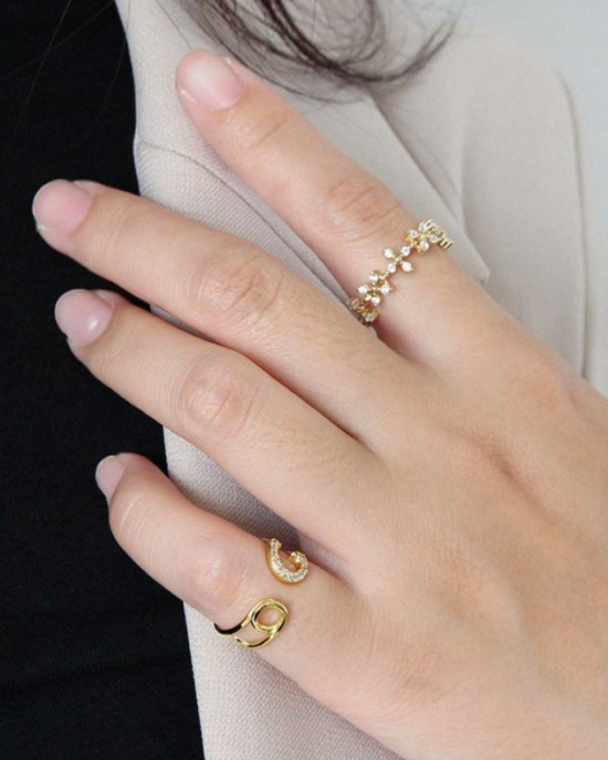 SAFETY PIN Gold Vermeil Pinky Ring